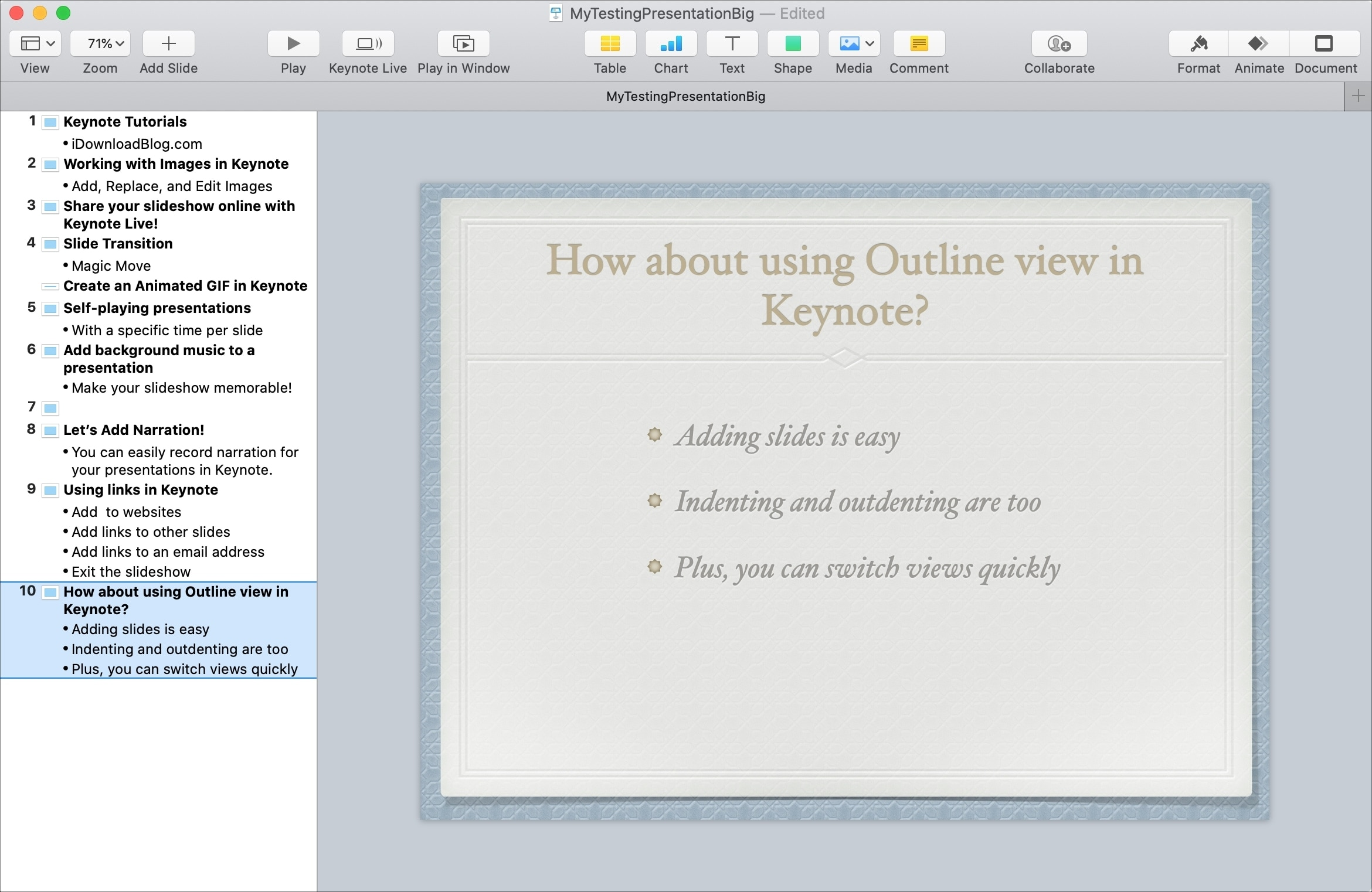 Use Outline View in Keynote on Mac