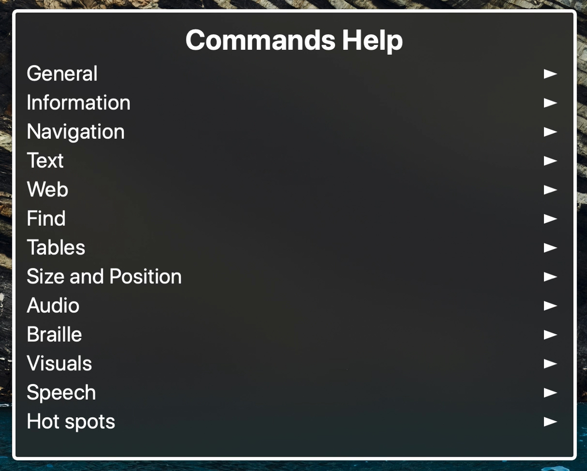 VoiceOver Commands Menu on Mac