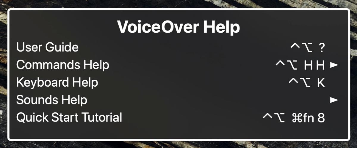VoiceOver Help Menu on Mac