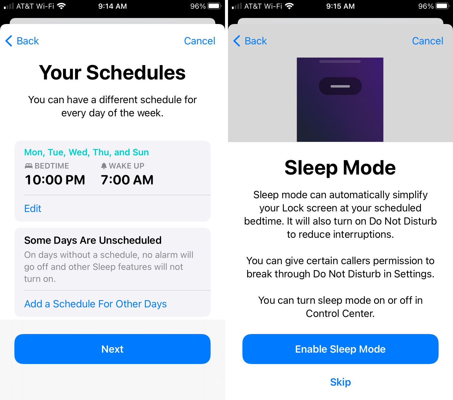Your Schedules for Sleep on iPhone