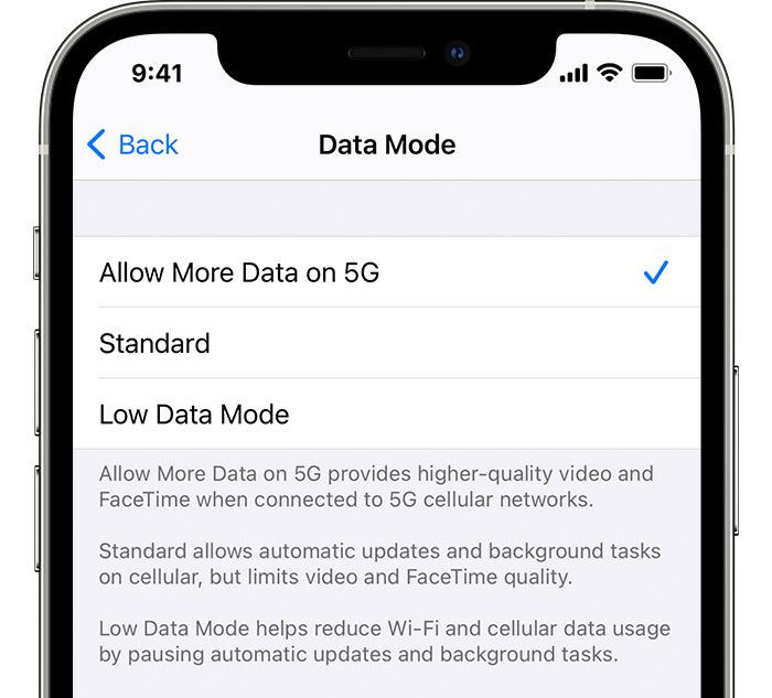 allow more 5g data iPhone - 5G cellular data mode