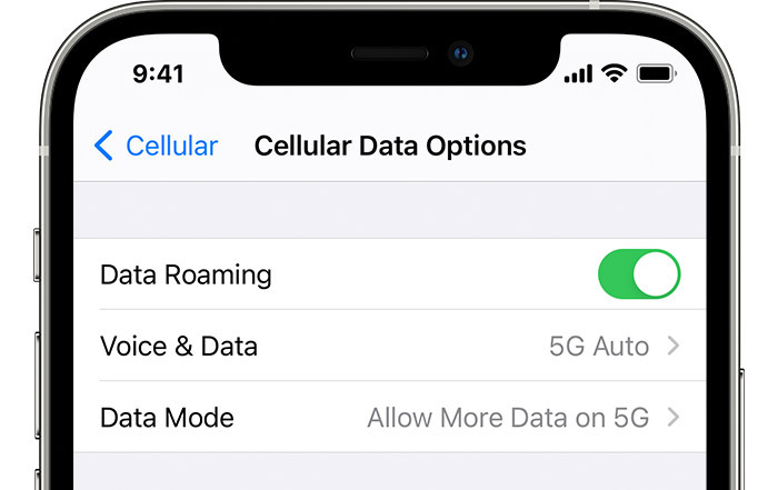 allow more 5g data iPhone - 5G cellular data options