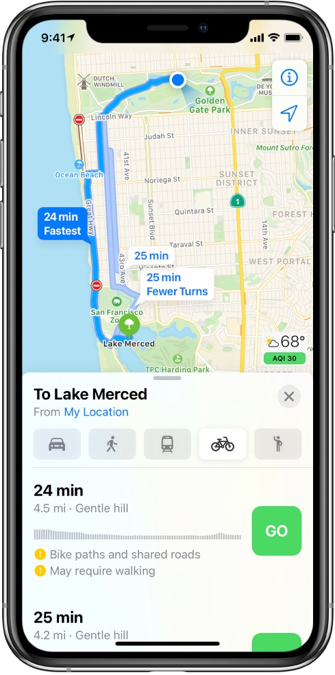 Apple Maps cycling directions - an overview of multiple cycling routes