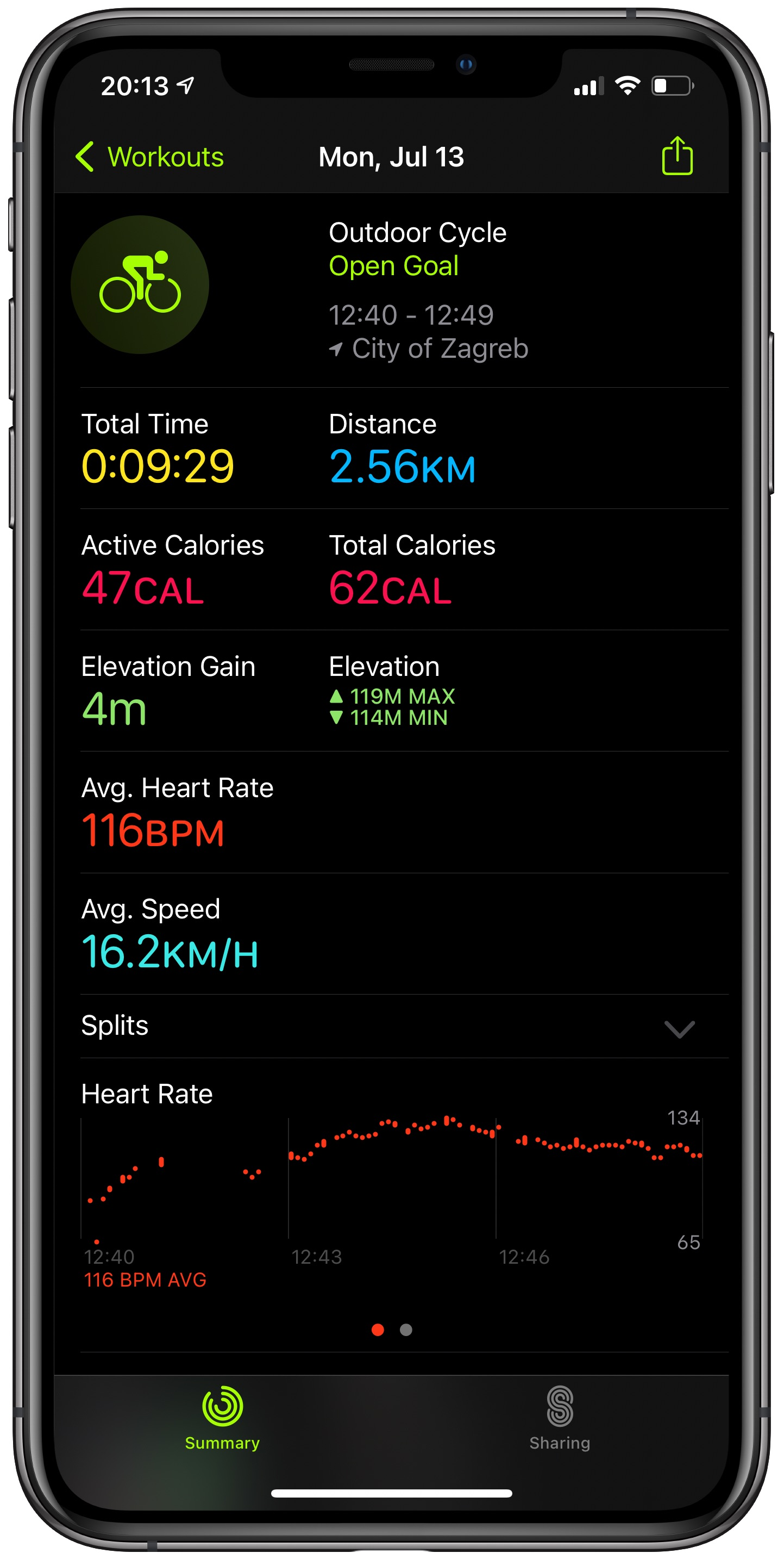 Apple Maps cycling directions - an outdoor cycle workout summary in the Fitness app on an iPhone