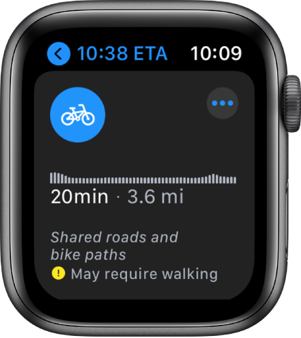 Apple Maps cycling directions - Apple Watch screenshot