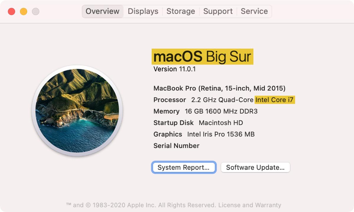About This Mac Big Sur Intel