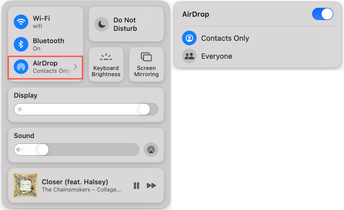 AirDrop in Control Center on Mac