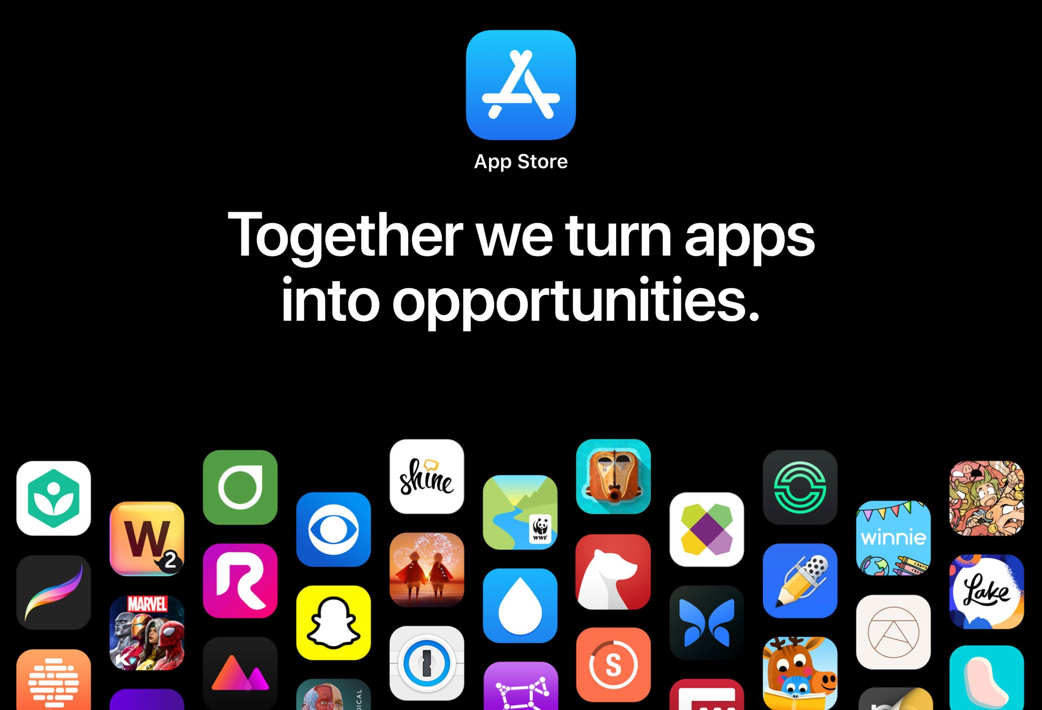A screenshot of the Apple website showing a section dedicated to promoting the App Store.