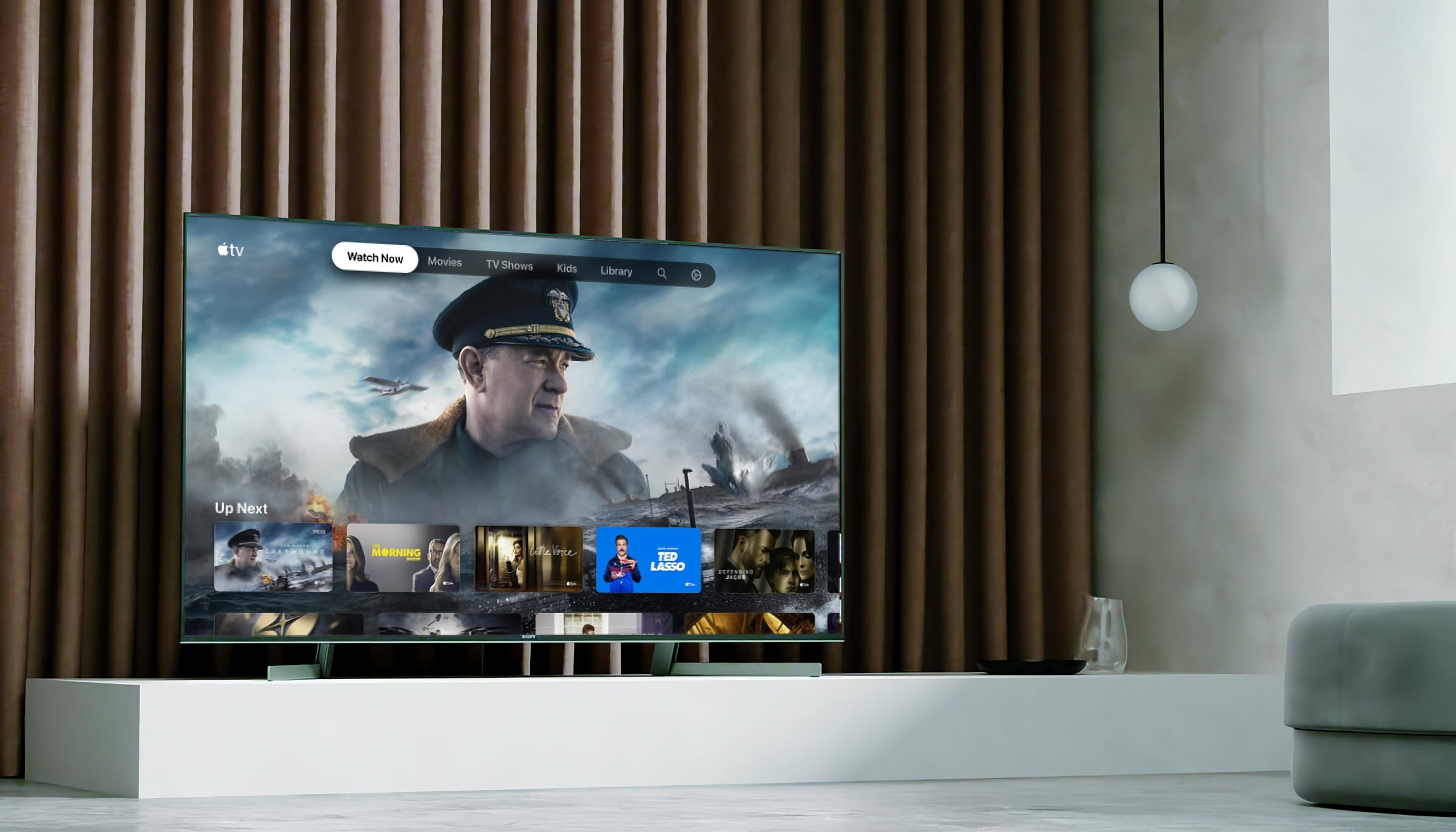 A lifestyle photo showing Apple TV app running on Sony's Android TV set
