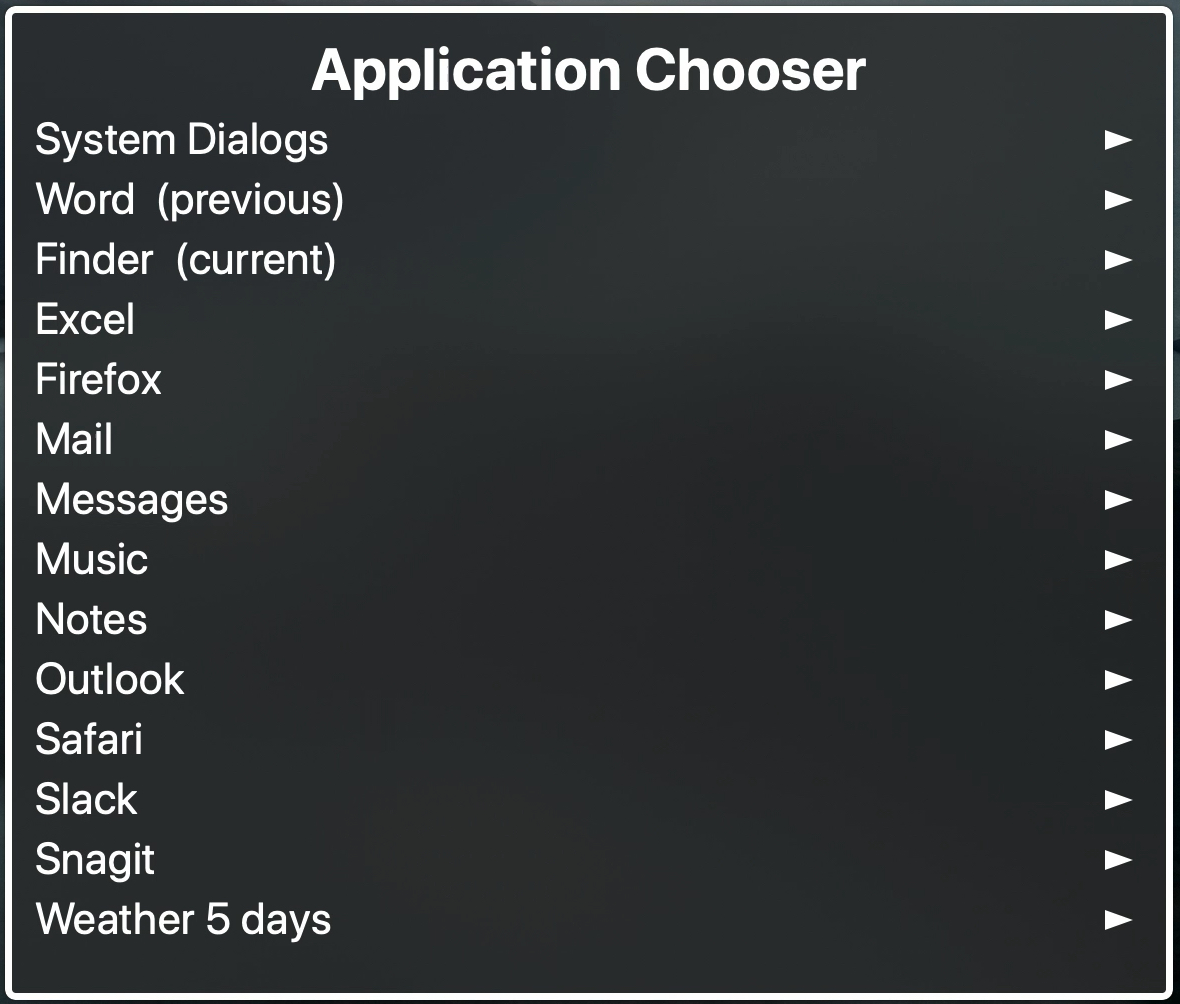 Application Chooser for VoiceOver