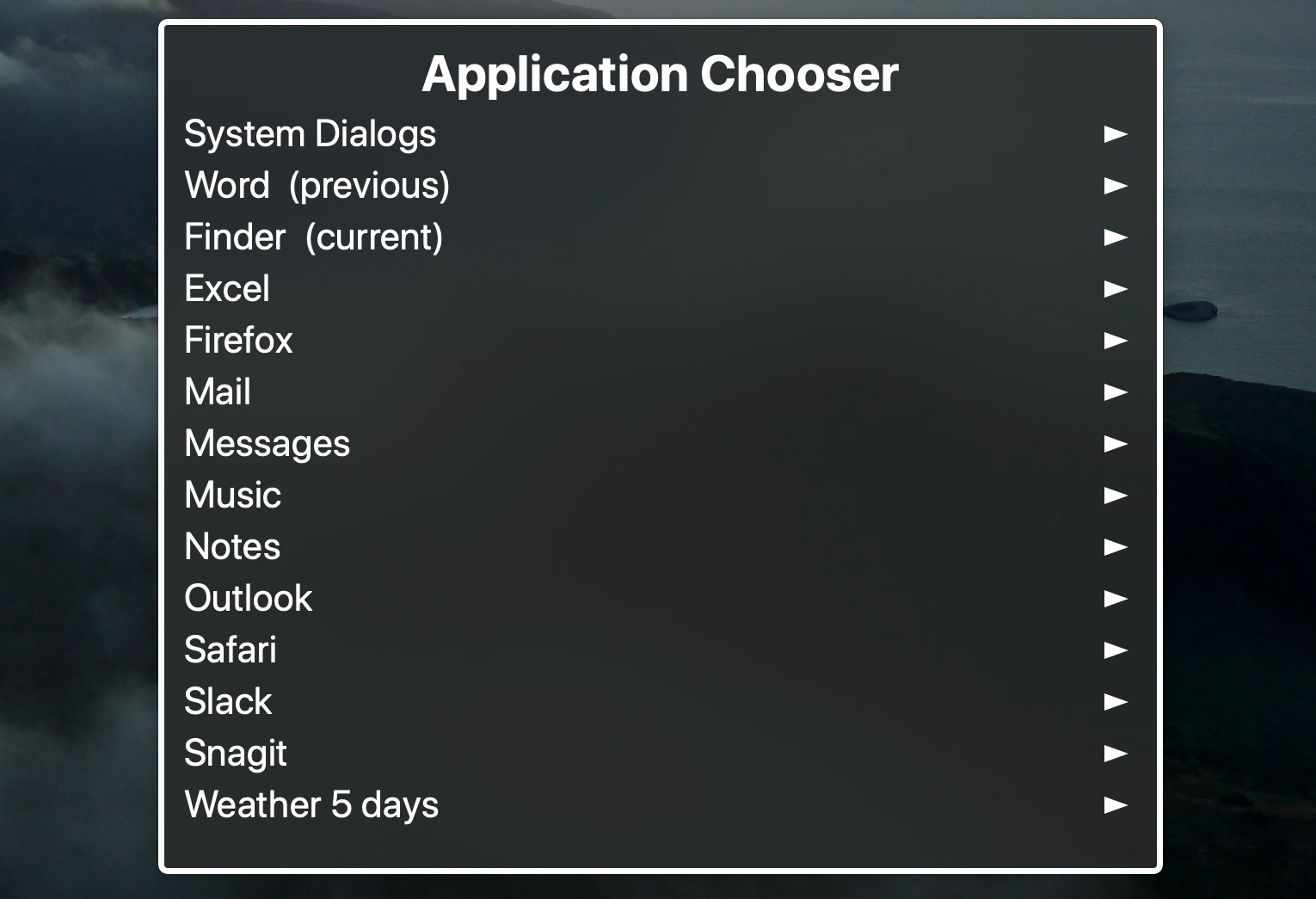 Application Chooser on Mac