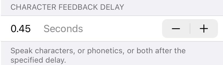 Character Feedback Delay on iPhone