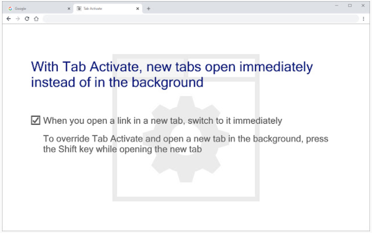 Chrome Extension Tab Activate
