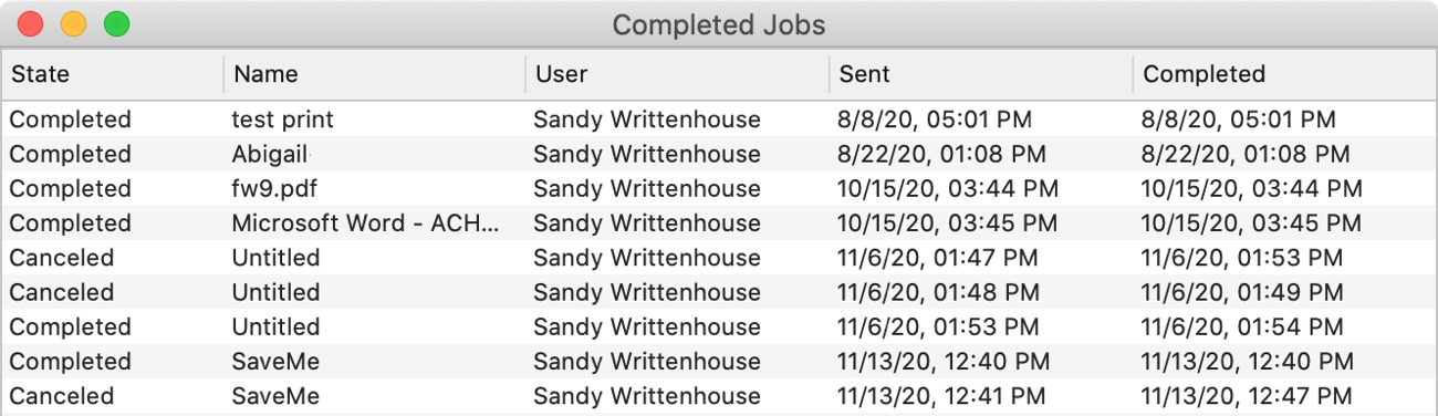 Completed Print Jobs on Mac