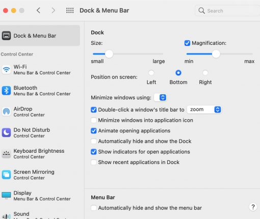 Dock and Menu Bar in System Preferences