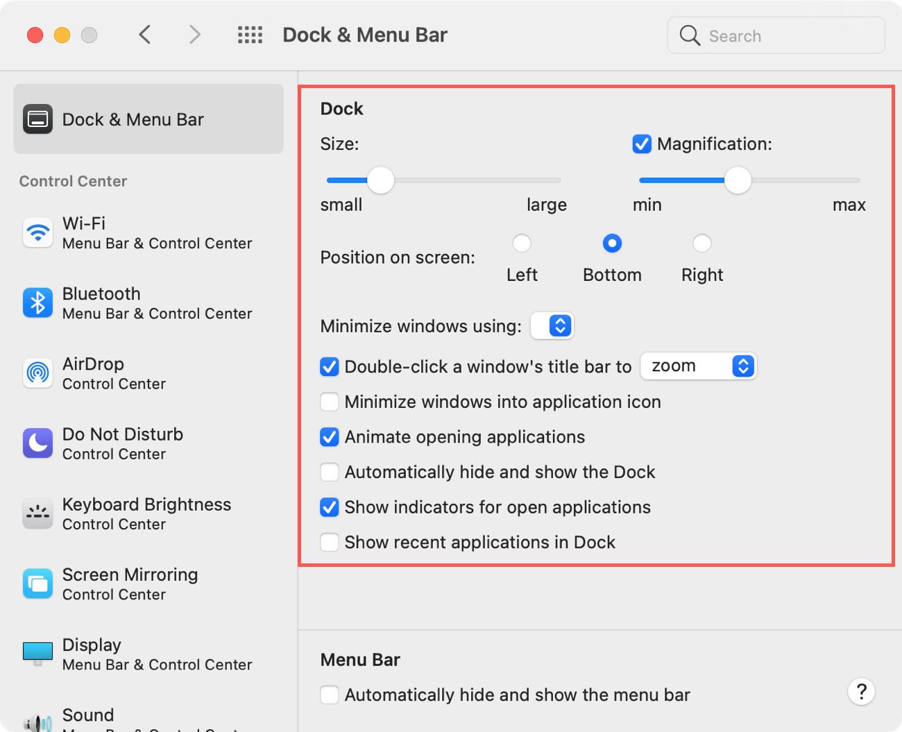 Dock in System Preferences