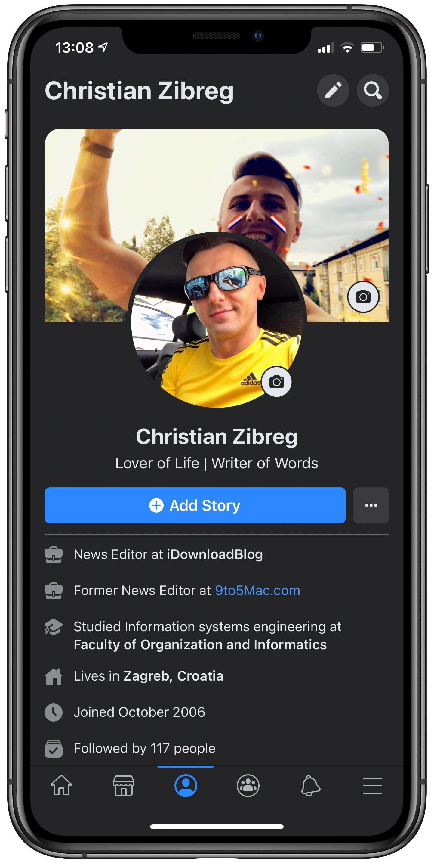 Facebook Dark Mode - iPhone screenshot