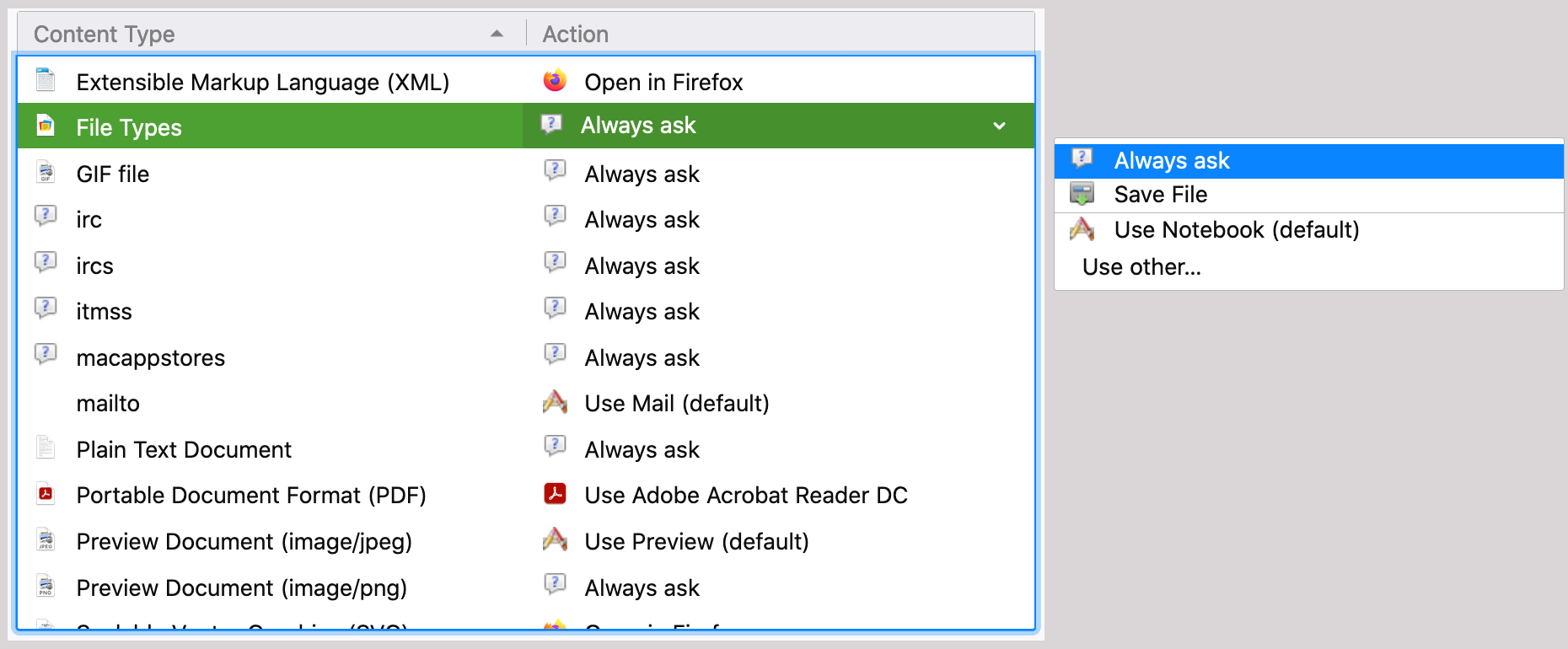 Firefox Always Ask as Default