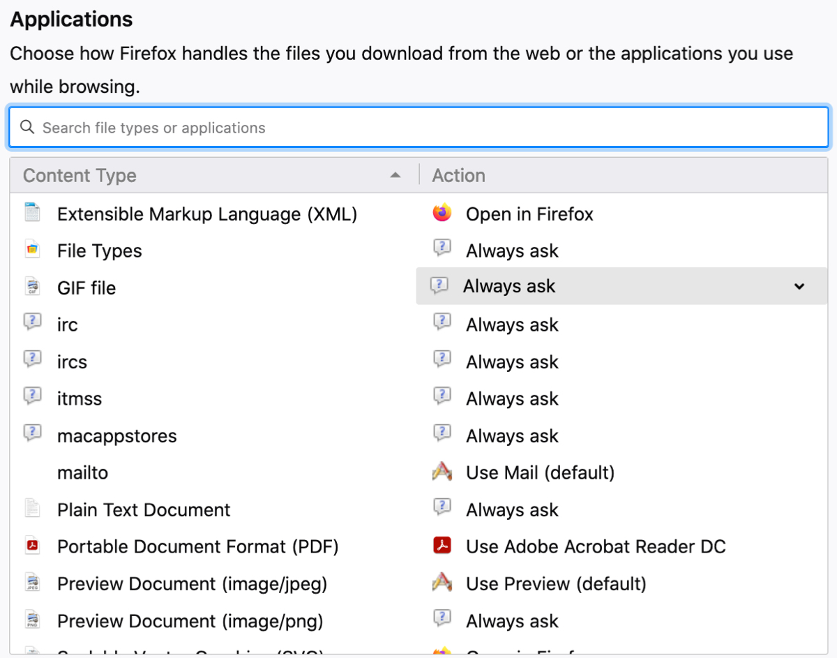 Default Apps and Actions to Open Files on Firefox