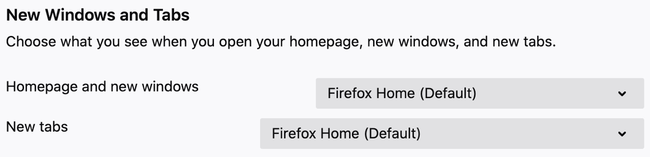 Firefox Preferences New Windows and Tabs on Mac