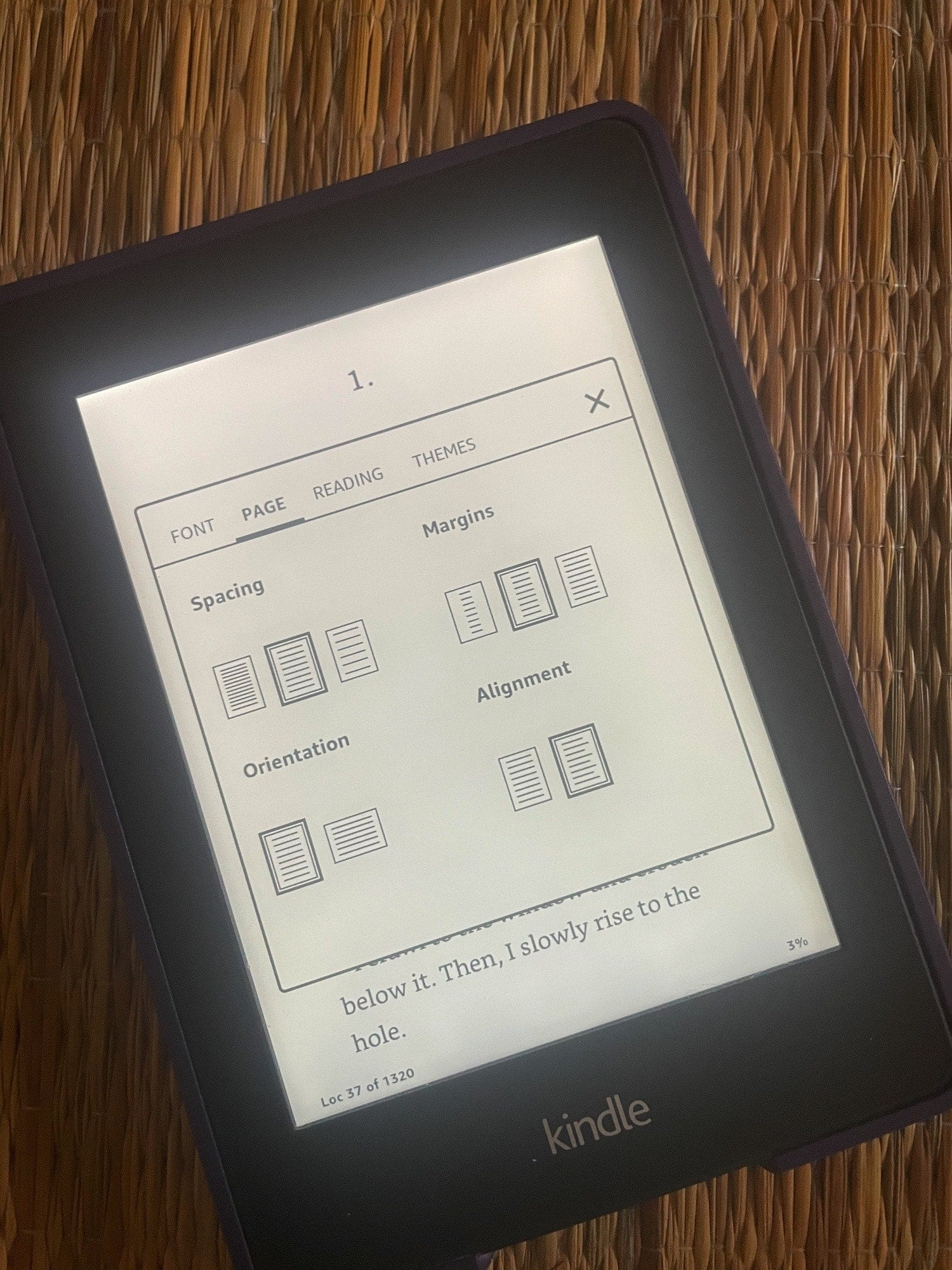 Kindle Page Layout Options Portrait View