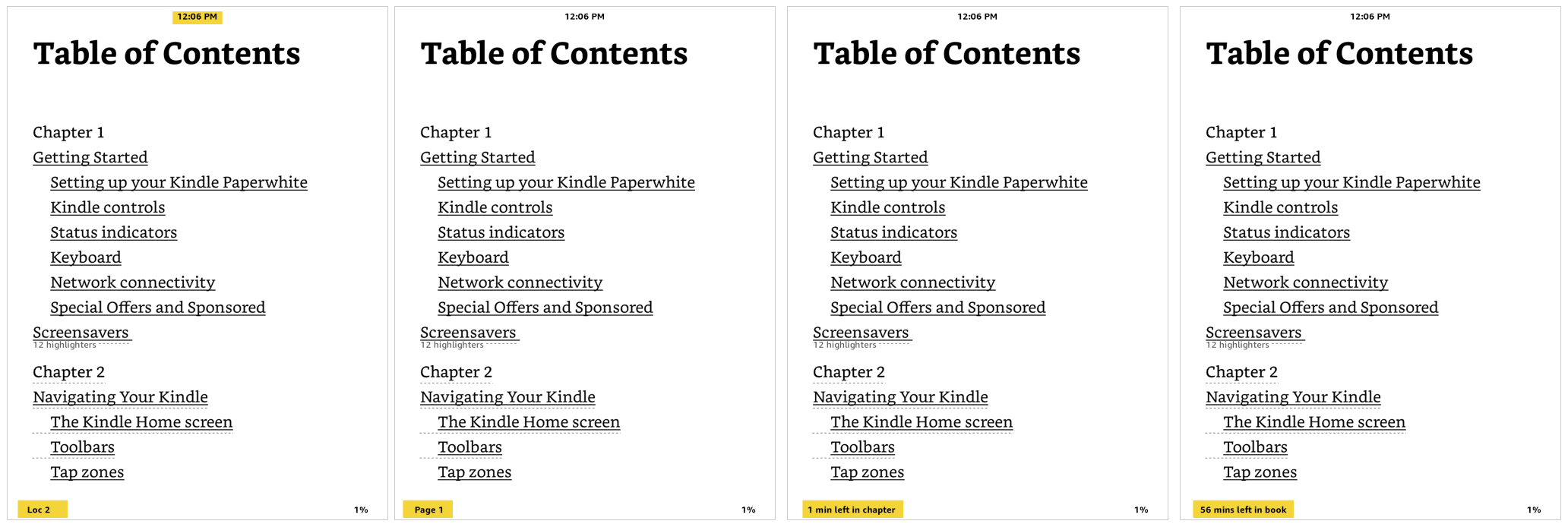 Kindle Reading Progress Per Page and Clock