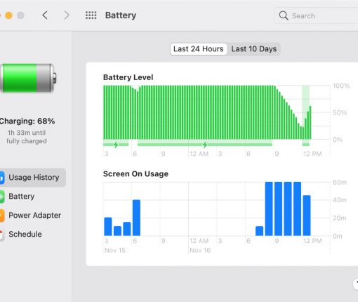 Mac Big Sur Battery Usage History