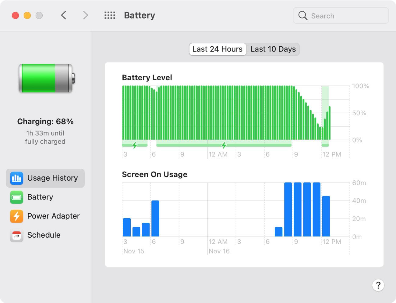 Mac Big Sur Battery Usage History