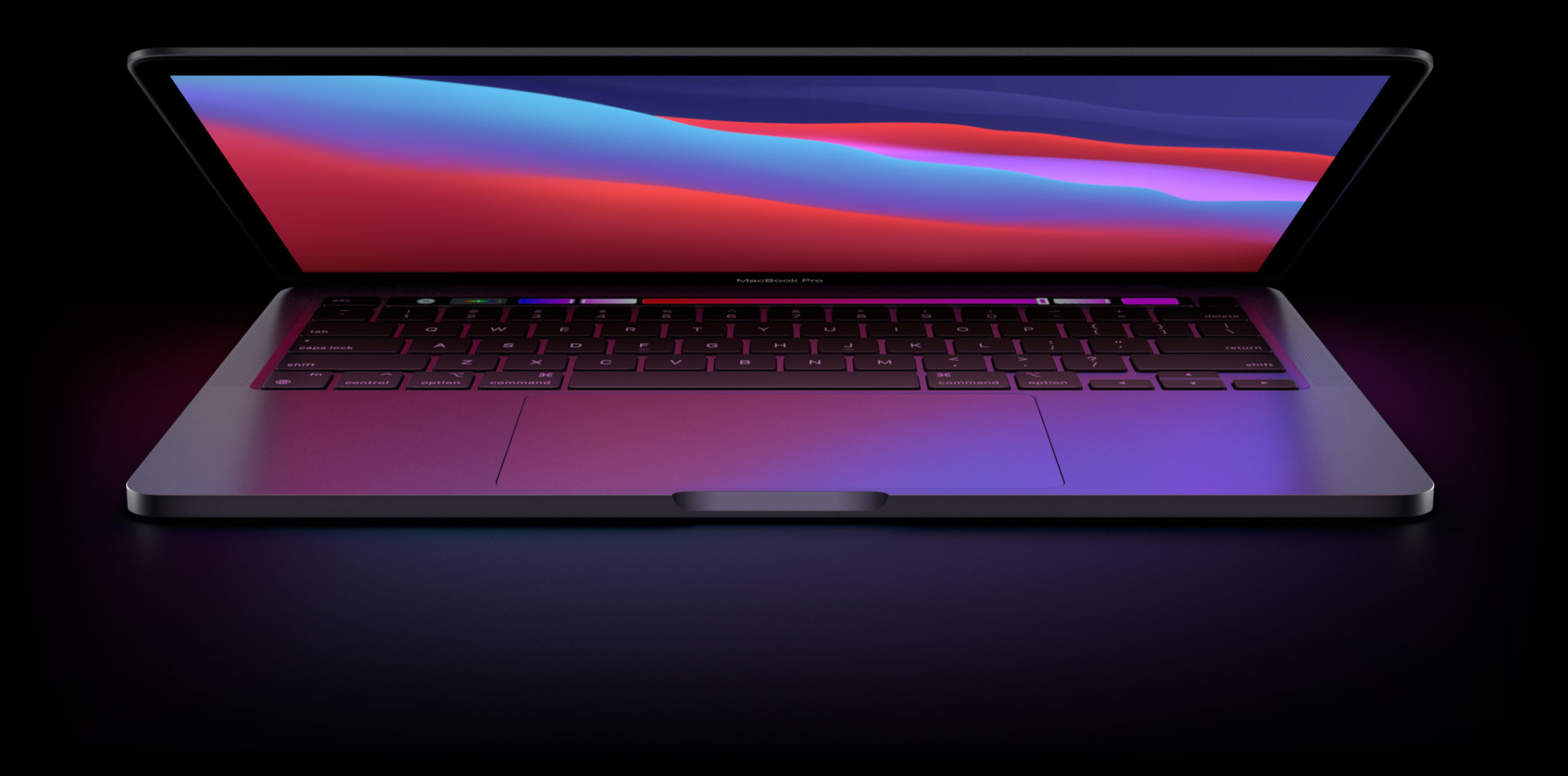 Promotional Apple graphic depicting Apple silicon MacBook Pro with the lid half open