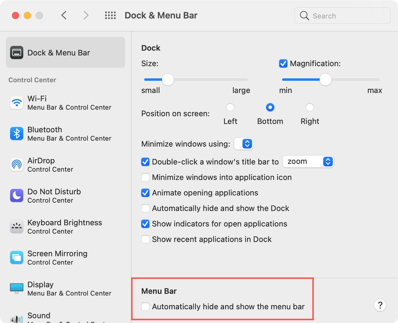 Menu Bar in System Preferences