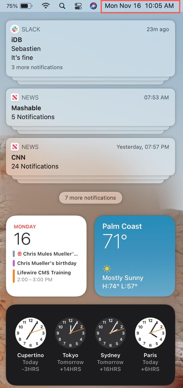 Notification Center on Mac Big Sur
