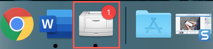 Printer Icon with Red Badge in Dock