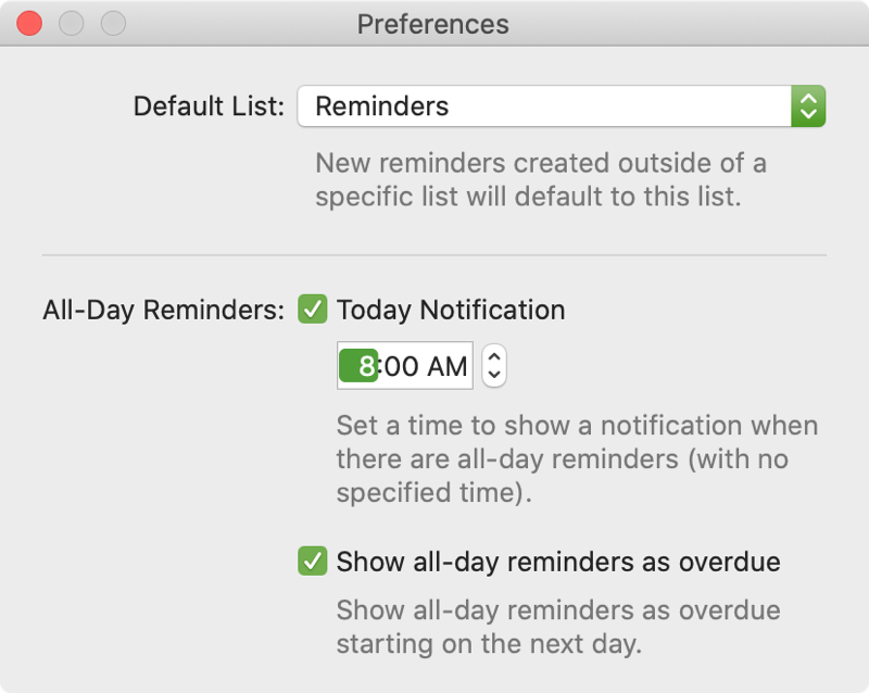 Set Time for Reminders All Day Alert on Mac