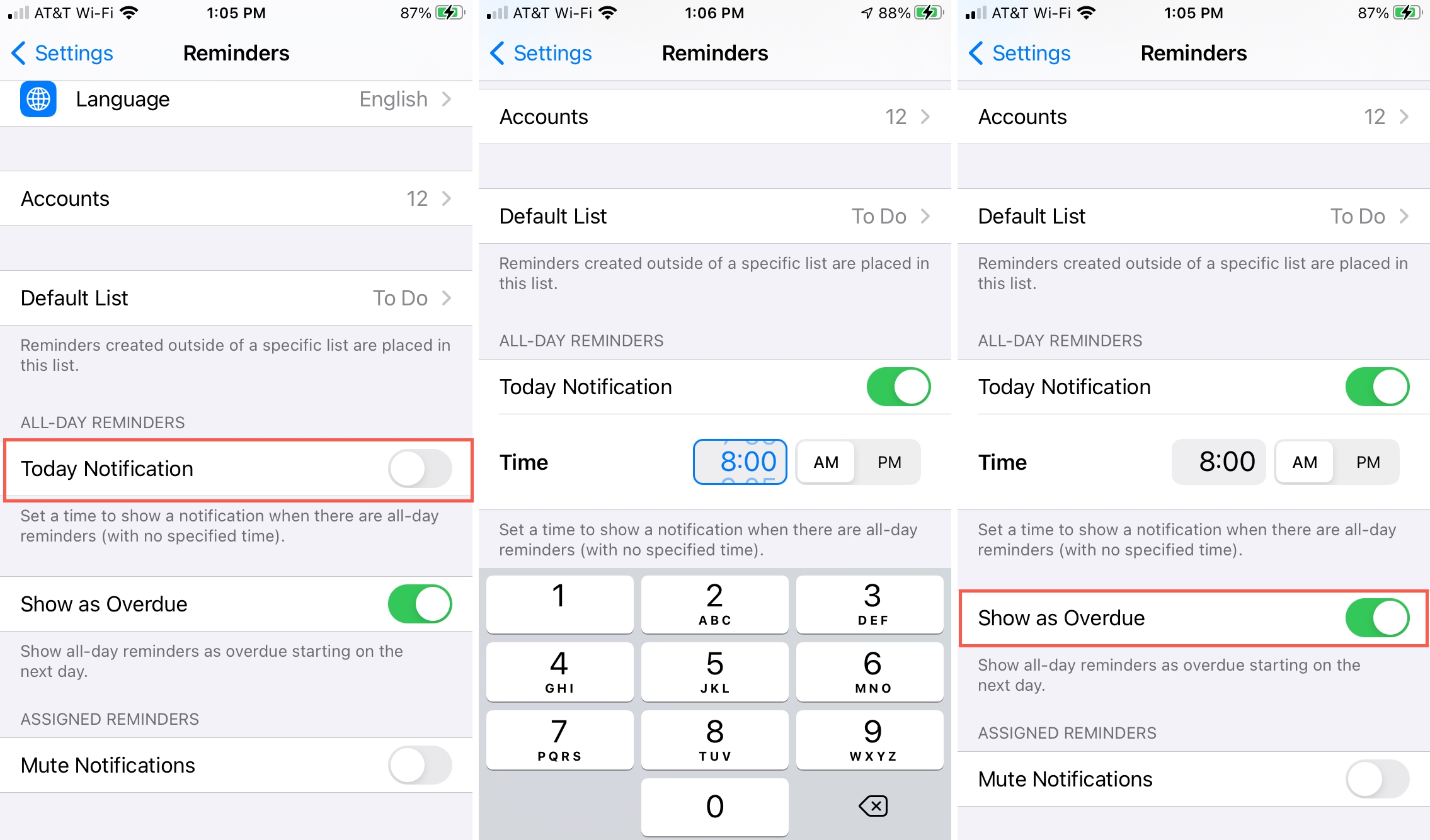 Set Time for Reminders All Day Alert on iPhone