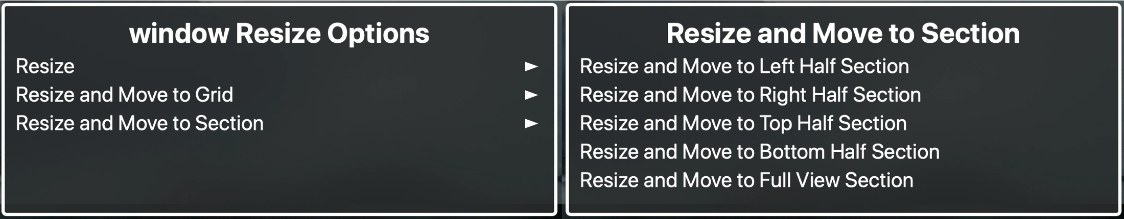 Resize Window Menu