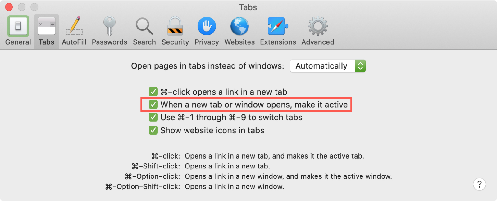 Safari Preferences Tabs Make Active