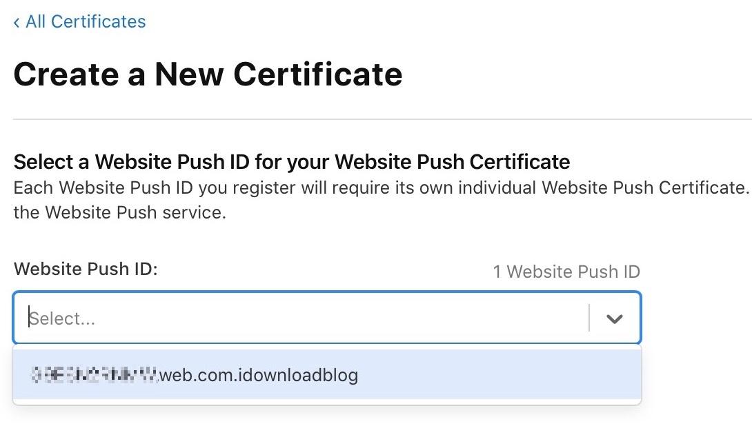 Select website push ID