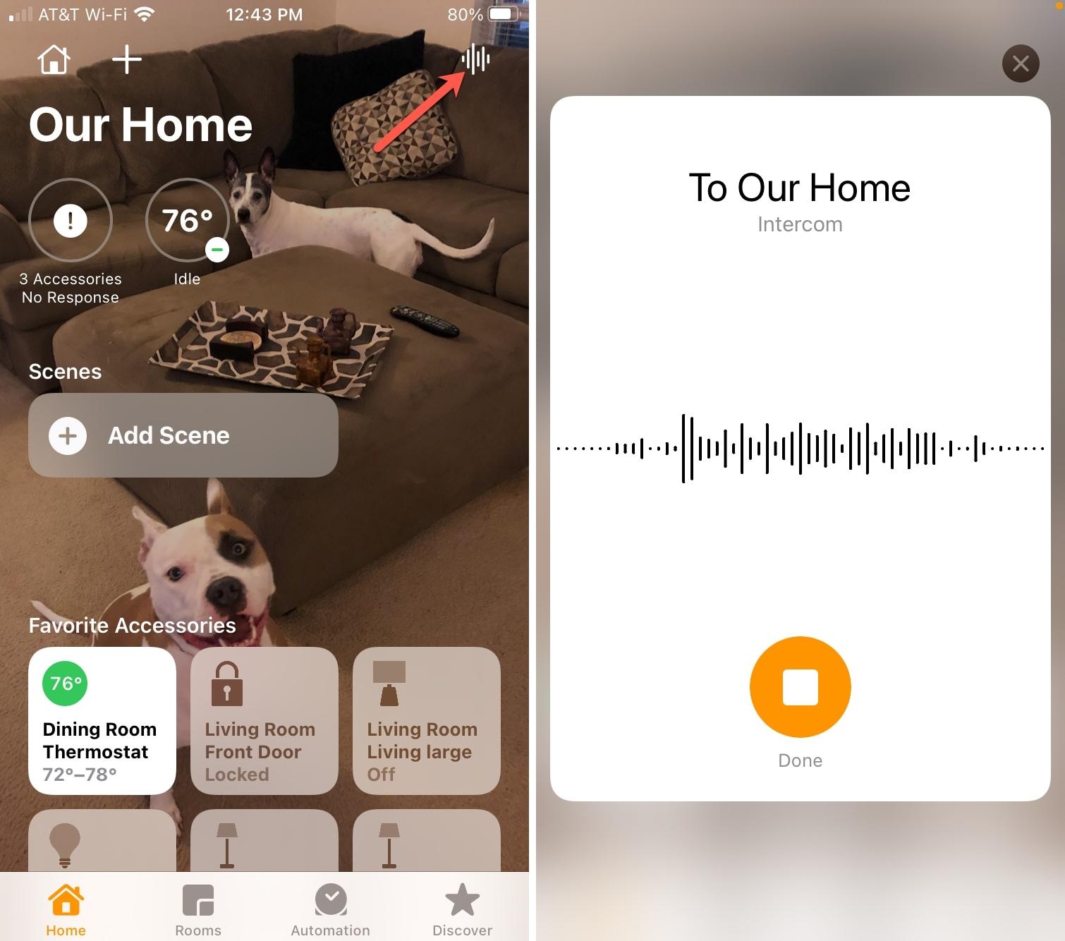 Send Intercom Message in the Home app
