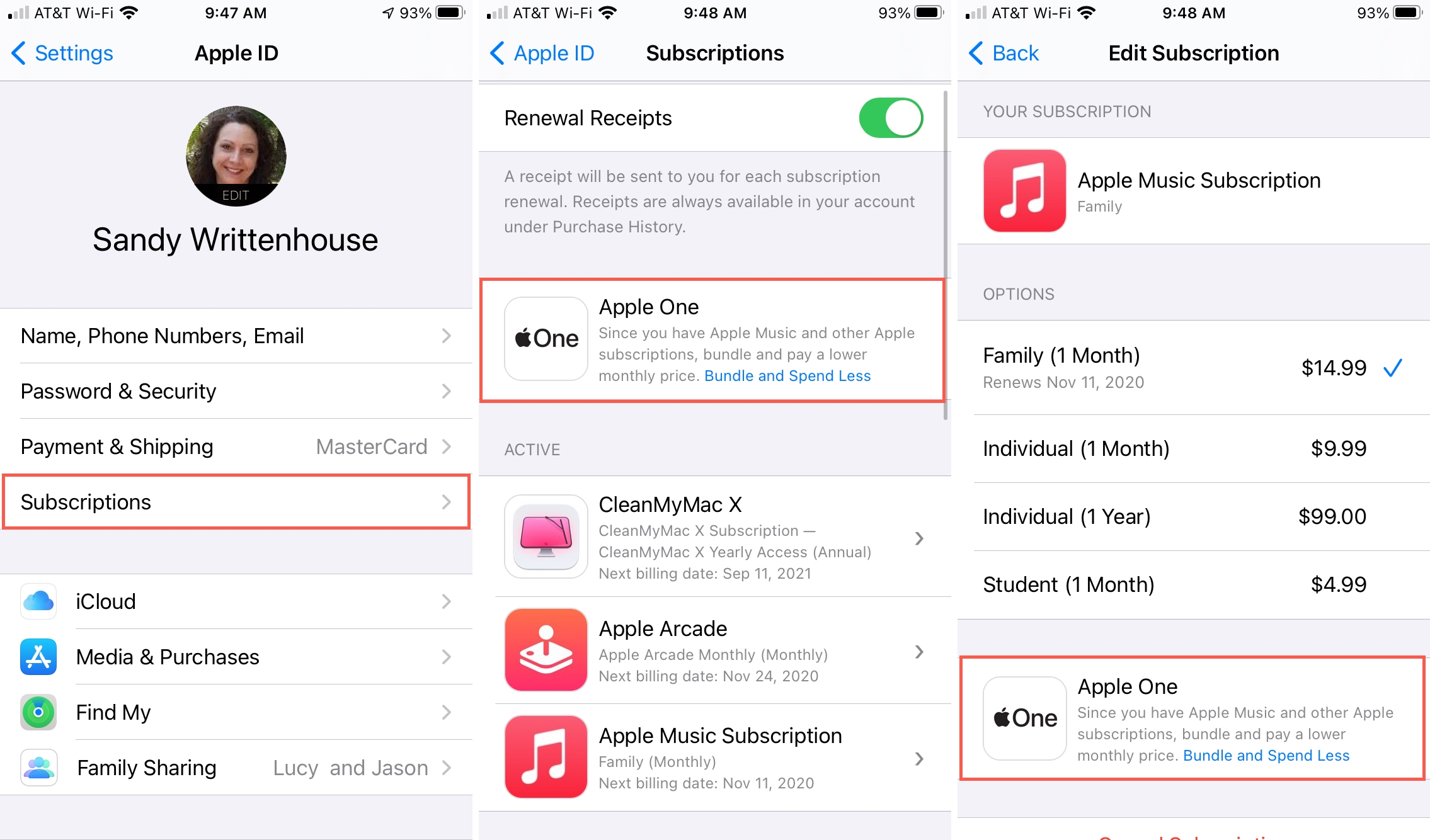 Subscriptions screens with Apple One Options