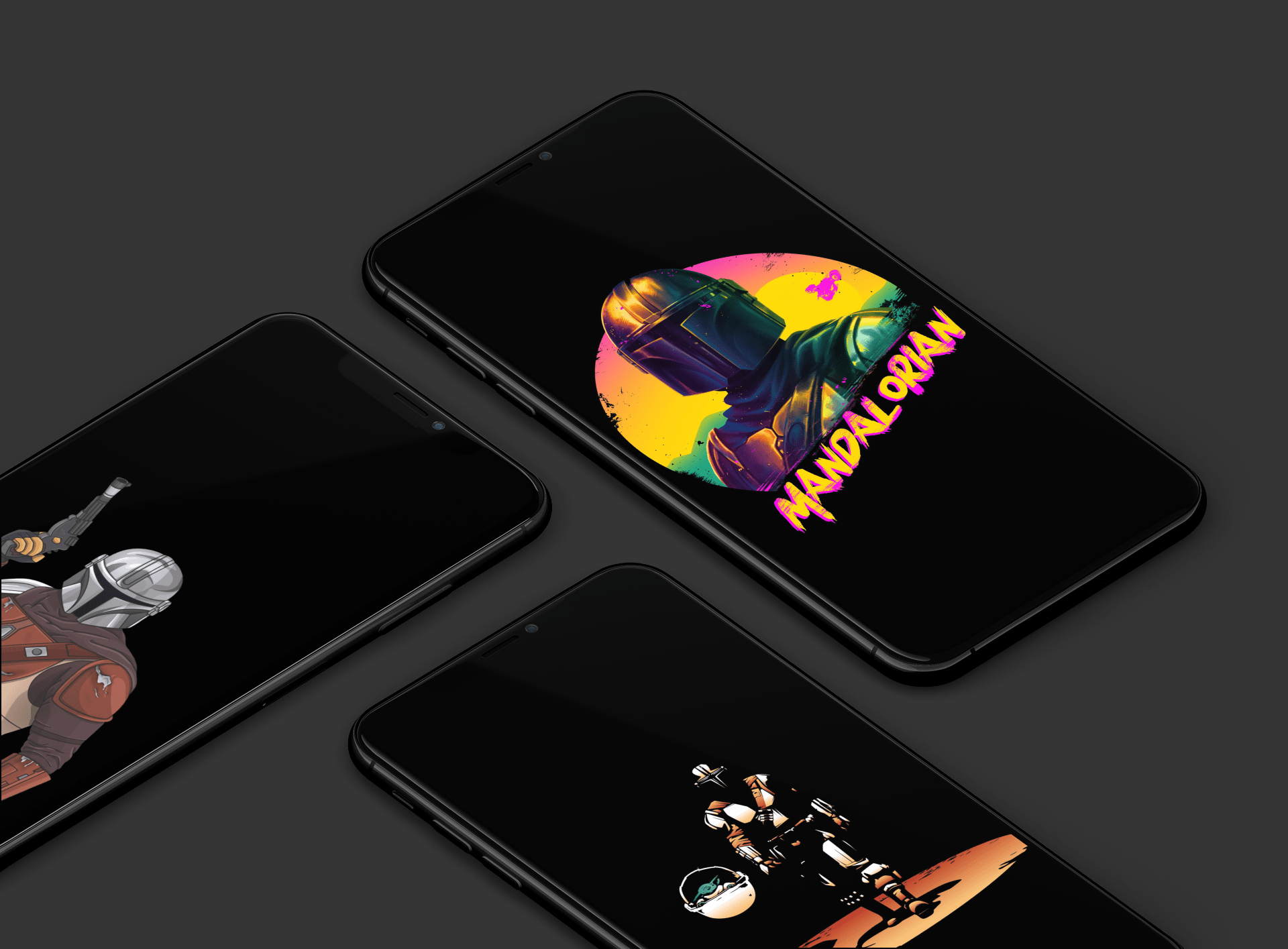 The Mandalorian wallpapers: OLED iPhone screens edition