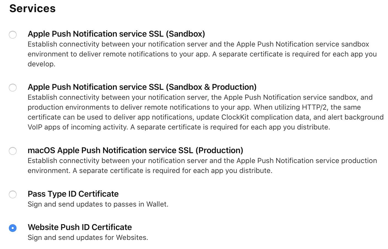 Website push ID certificate