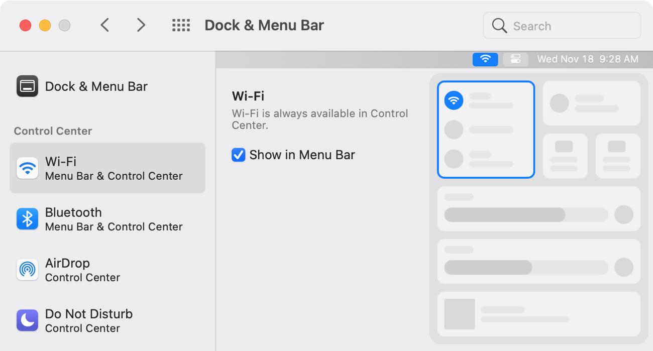 Add WiFi to Menu Bar on Mac