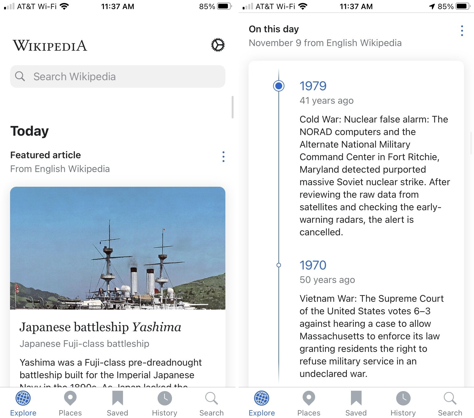 Wikipedia Today History on iPhone