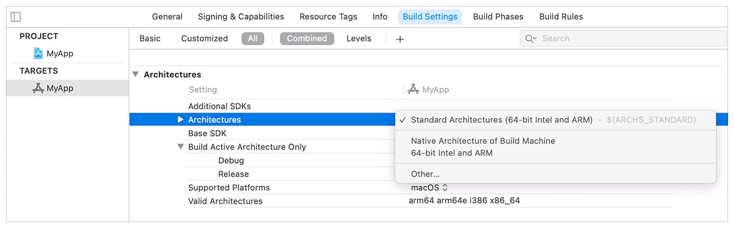 Apple Rosetta 2 emulation - a screenshot showing marking an app as universal in Xcode