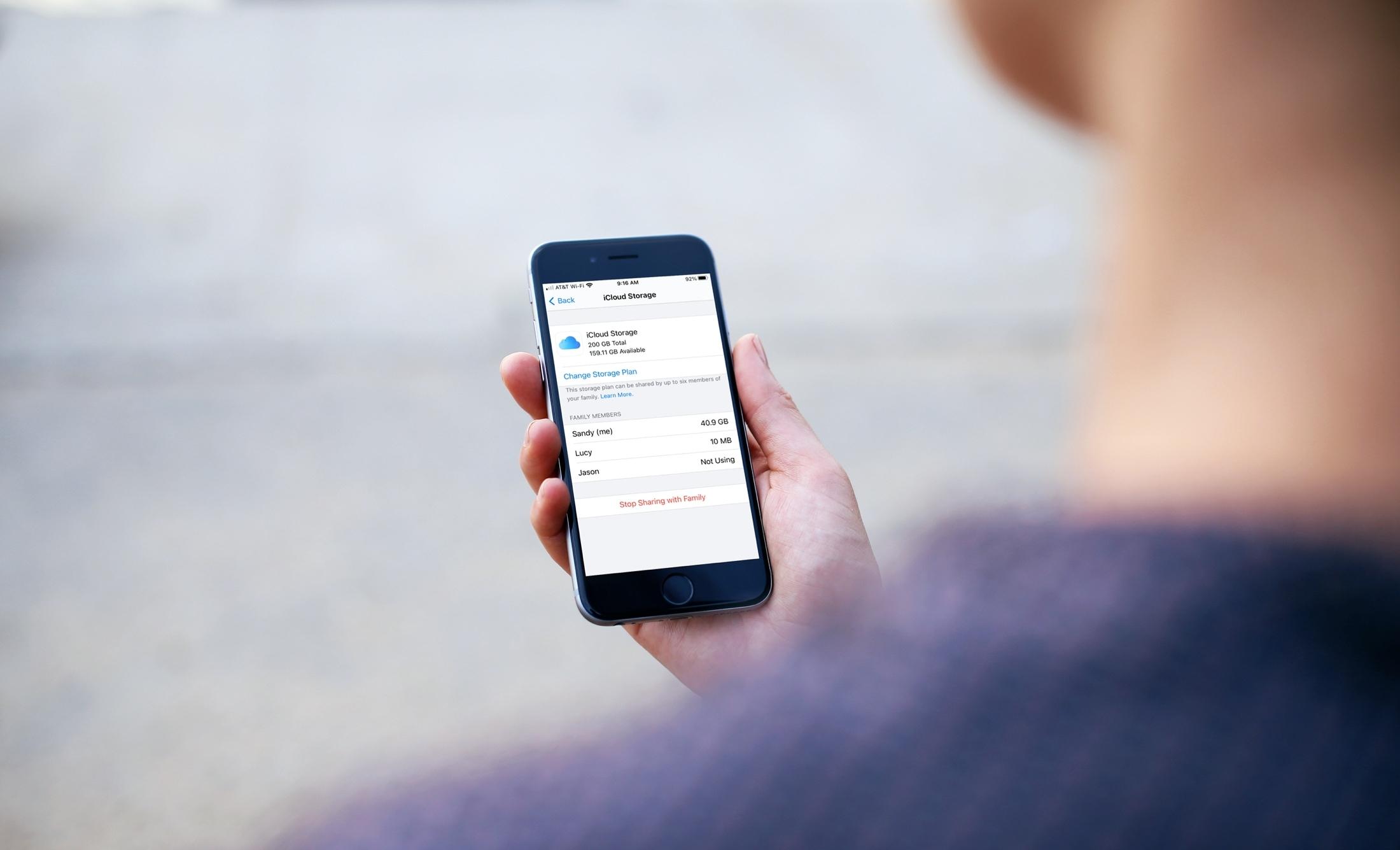 iCloud Storage Family Plan Usage on iPhone