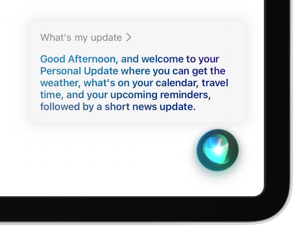 Siri Personal Update - splash screen with Siri