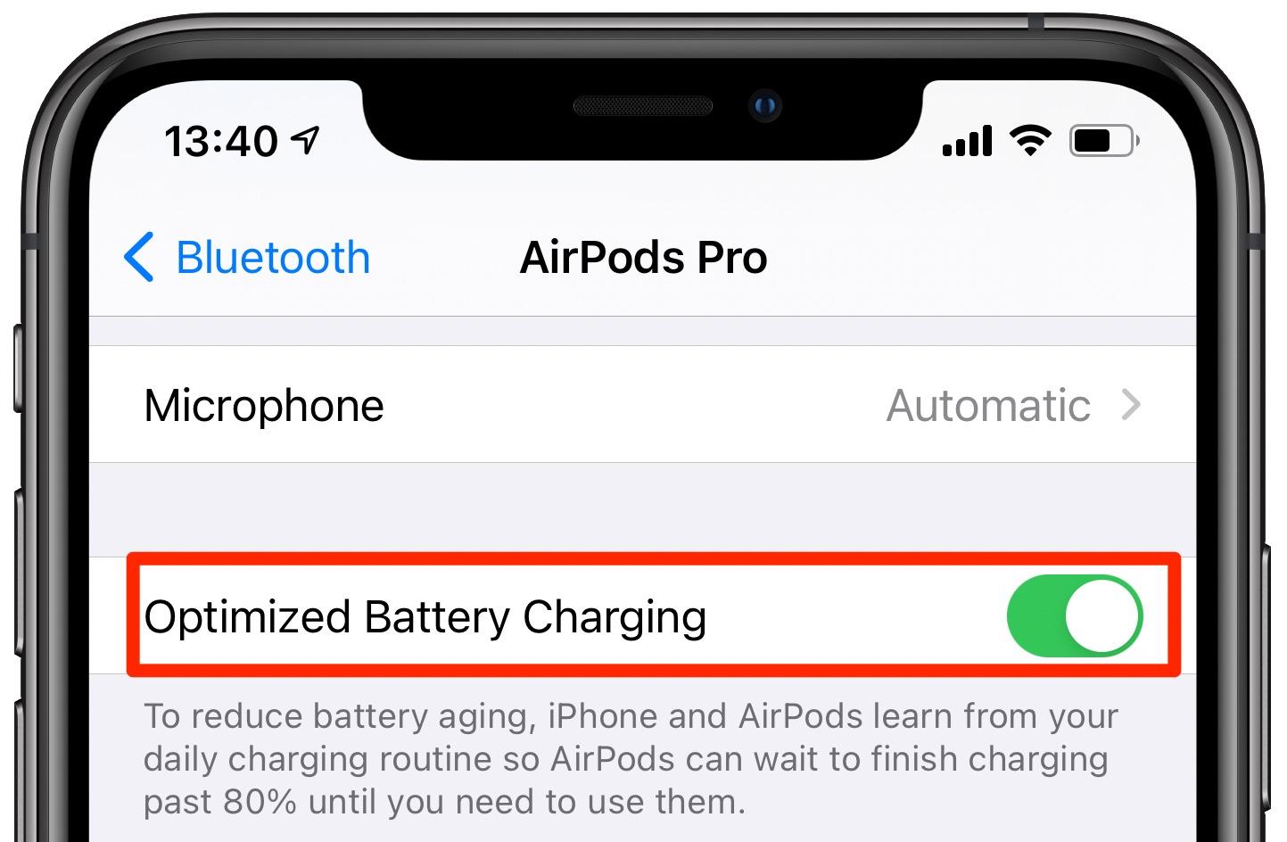 Optimizedc battery charging AirPods Pro - iPhone screenshot