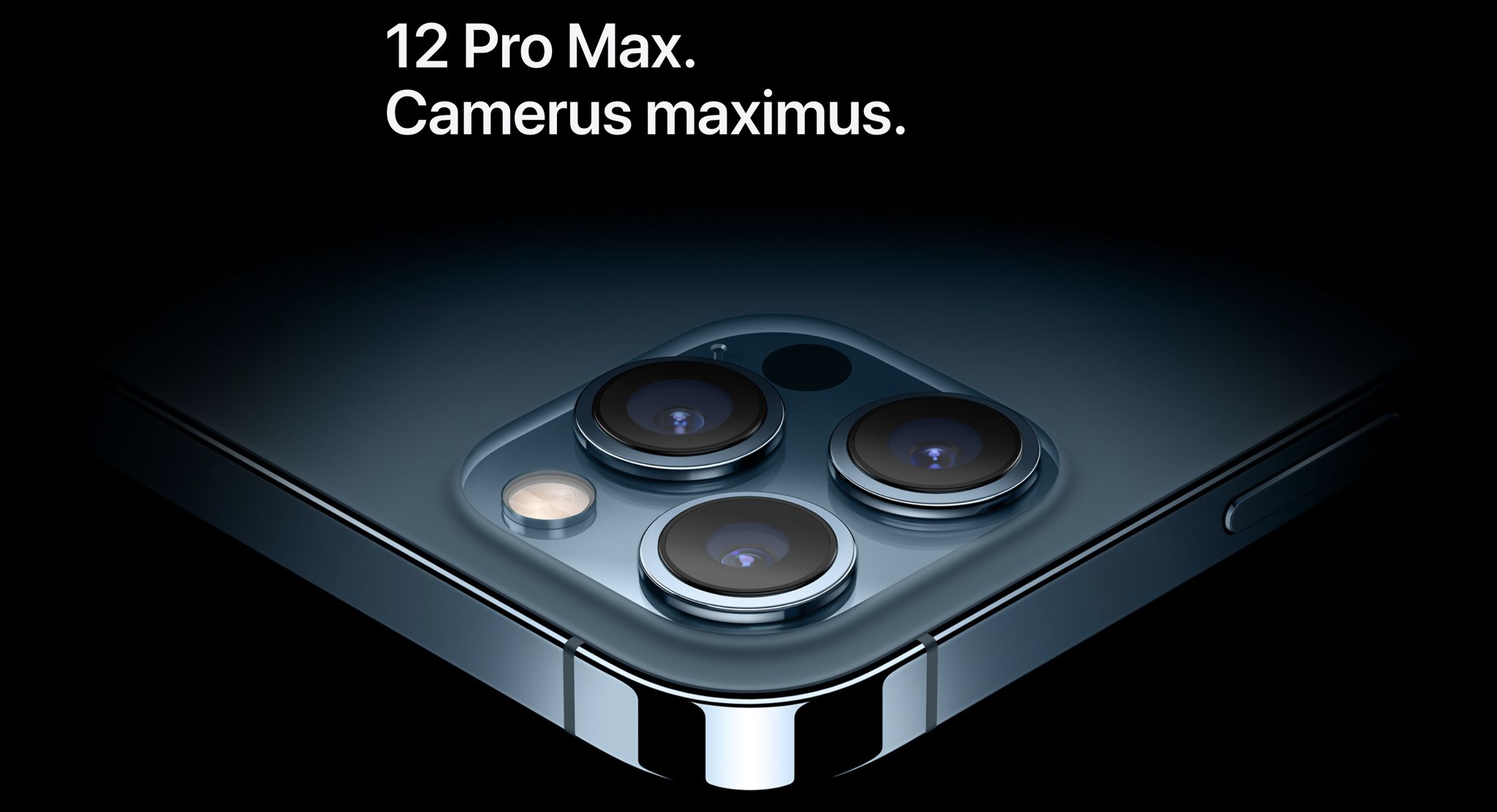 An Apple webpage capture promoting the iPhone 12 Pro Max camera features.