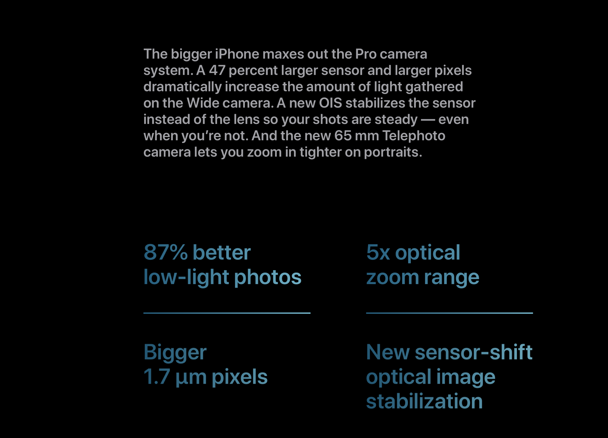 A screenshot of the iPhone 12 Pro Max webpage on Apple's website listing the camera features.