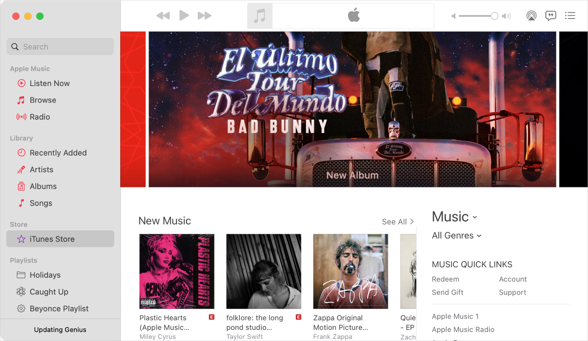 iTunes Store in Music on Mac